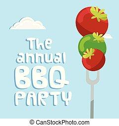 tomate, garfo, imagem, anual, vetorial, fundo, partido, bbq