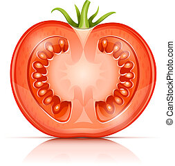 tomate, half-in-half, cuted