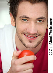 tomate, homem jovem