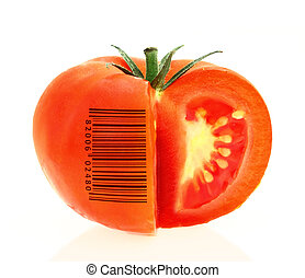 tomate, identificação, produto, represente, codificado