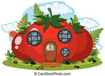tomate, isolé, maison, fée