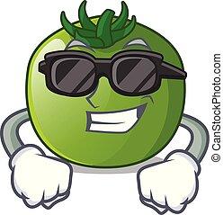 tomate, isolé, vert, dessins animés, super, frais