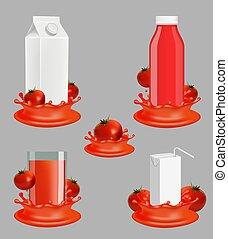 tomate, jogo, pacote, mockup, suco, vetorial, realístico