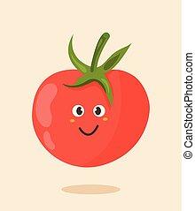 tomate, lindo, brillante, caricatura, cartel