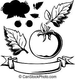 tomate, linha, pretas, ilustração