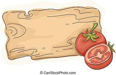 tomate, madeira, etiqueta
