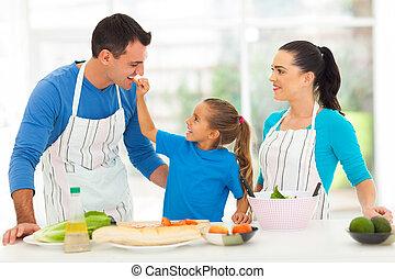 tomate, mignon, alimentation, fille, père, morceau