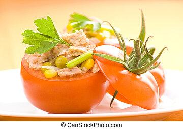 tomate, milho, aipo, feijão, soya, enchido, atum