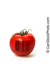 Tomate mit Barcode