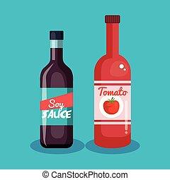 tomate, molho soja, ketchup