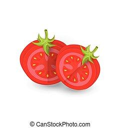 tomate, nourriture, disséquer, vecteur, icône