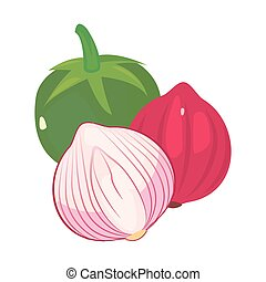 tomate, oignon, nourriture, ail, frais, rouges
