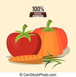 tomate, organique, coloré, nourriture, affiche, carotte, mieux, citrouille