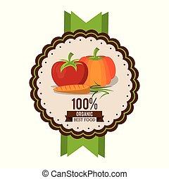 tomate, organique, coloré, nourriture, carotte, logo, mieux, citrouille