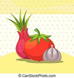 tomate, organique, oignon, sain, légumes, ail, frais