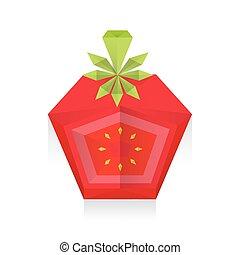tomate, origami, disséquer, 3d, icône