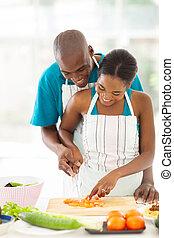 tomate, pareja, juntos, norteamericano, Cortar,  Afro
