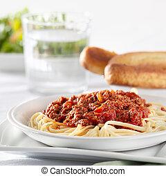 tomate, pastas, Espaguetis, carne de vaca, salsa