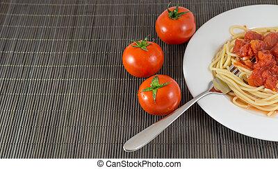 tomate, pastas, Espaguetis, salsa