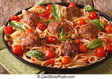 tomate, placa, Espaguetis, Albóndigas, Primer plano,  horizontal,  food:, salsa, italiano