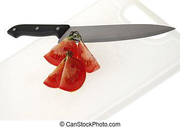tomate, plastique, planche découper, blanc, couteau