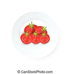 tomate, plat, disséquer, vecteur, icône