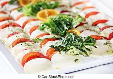 tomate, platter queijo, catering