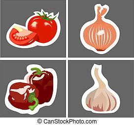 tomate, poivres, oignon ail