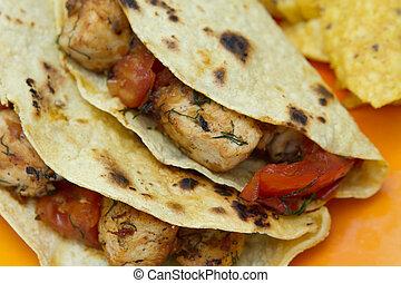 tomate, poulet, carbonisé, tacos