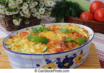 tomate, queijo, macarronada, casserole, abobrinha