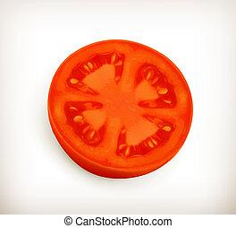 tomate, rebanada, vector