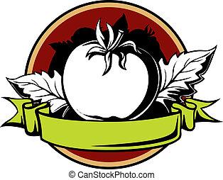 tomate, redondo, etiqueta