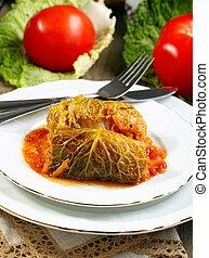 tomate, repolho, sauce., savoy, enchido