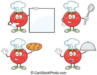 tomate, rojo, colección, 1.