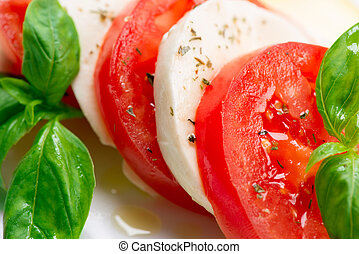 tomate, salad., caprese, tranches, feuilles, basilic, ...