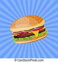 tomate, salad., hamburger, fromage