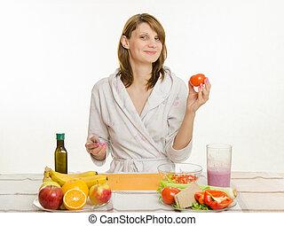 tomate, salade, cuisine, haut, femme foyer, choisi, heureux