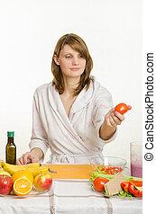 tomate, salade, haut, elle, choisi, préparer