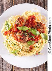 tomate, salsa, albóndiga, Espaguetis