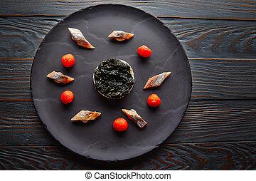 tomate, sardine, pannacotta, codium