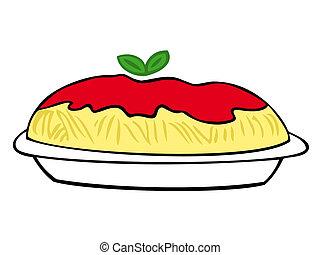 tomate, sauce., espaguete