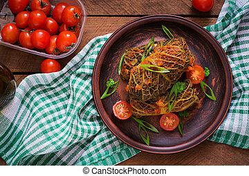 tomate, savoy, topo, sauce., enchido, repolho, rolos, vista