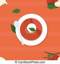 tomate, servi, soupe