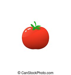 tomate, simple, isolé, illustration, unique, dessin animé