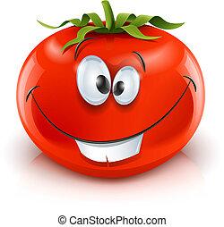 tomate, sonriente, rojo, maduro