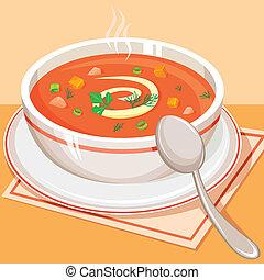 tomate, sopa vegetal