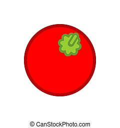 tomate, style, isolated., illustration, vecteur, légume, dessin animé