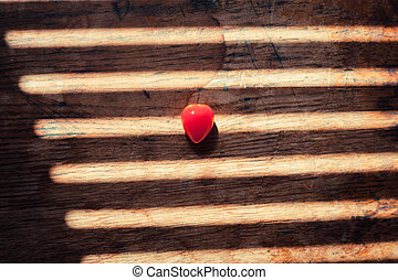 tomate, table, inhabituel, bois, heartshaped