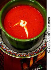 tomate, tazón, arriba, sopa, cierre, bisque