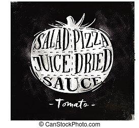 tomate, tiza, corte, esquema